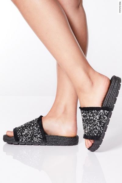 Black Embellished Frayed Espadrille Sandals